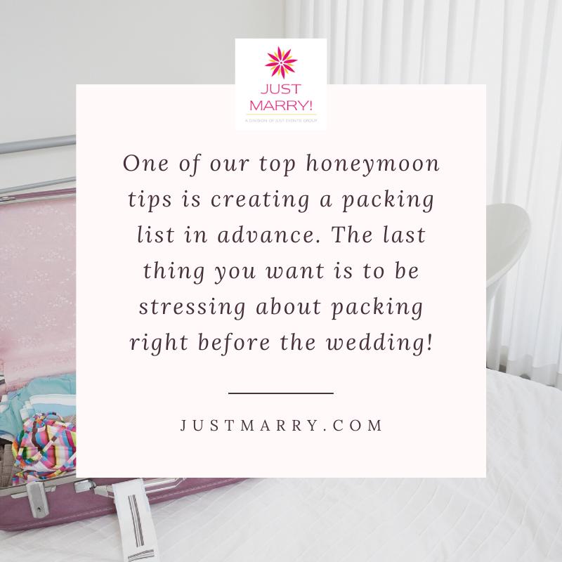 5 Honeymoon Tips for Your Destination Honeymoon - Packing List - Just Marry Weddings