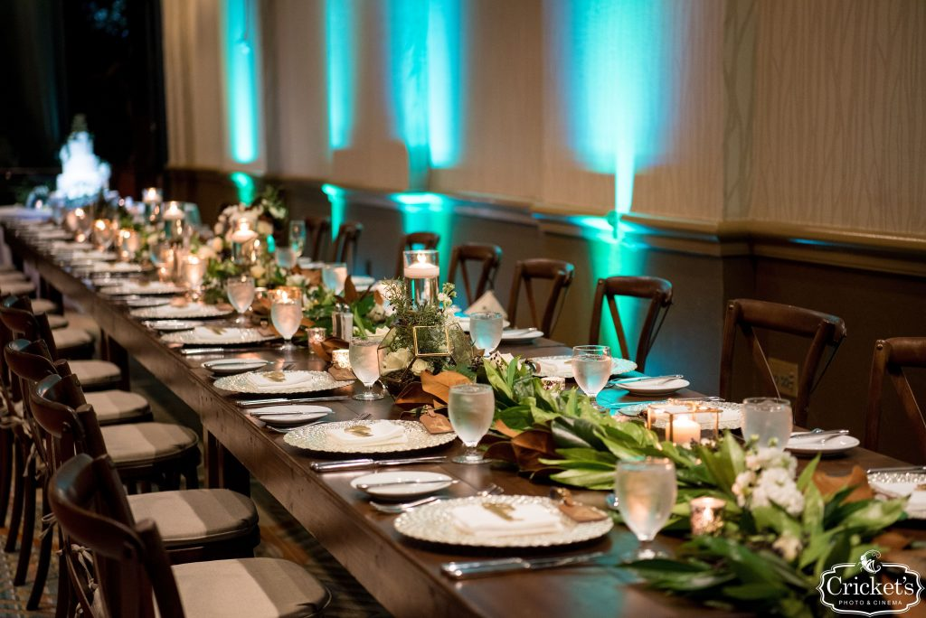 Budget Brides - Just Marry Weddings - Cricket's Photography - Reception Table with Aqua Lighting