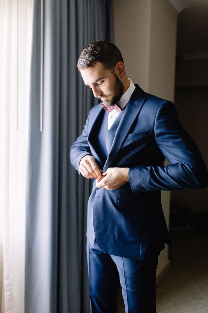 Burgundy and Blush Wedding - Just Marry Weddings - JP Pratt Photography - Groom Getting Ready