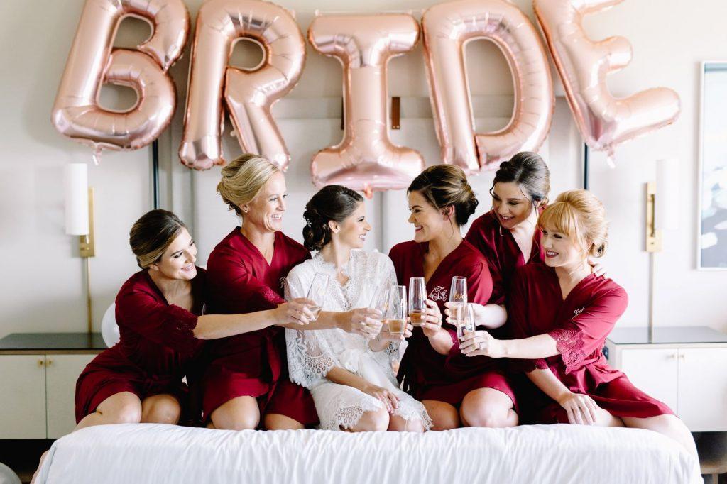 Burgundy and Blush Wedding - Just Marry Weddings - JP Pratt Photography - Bride with Bridesmaids