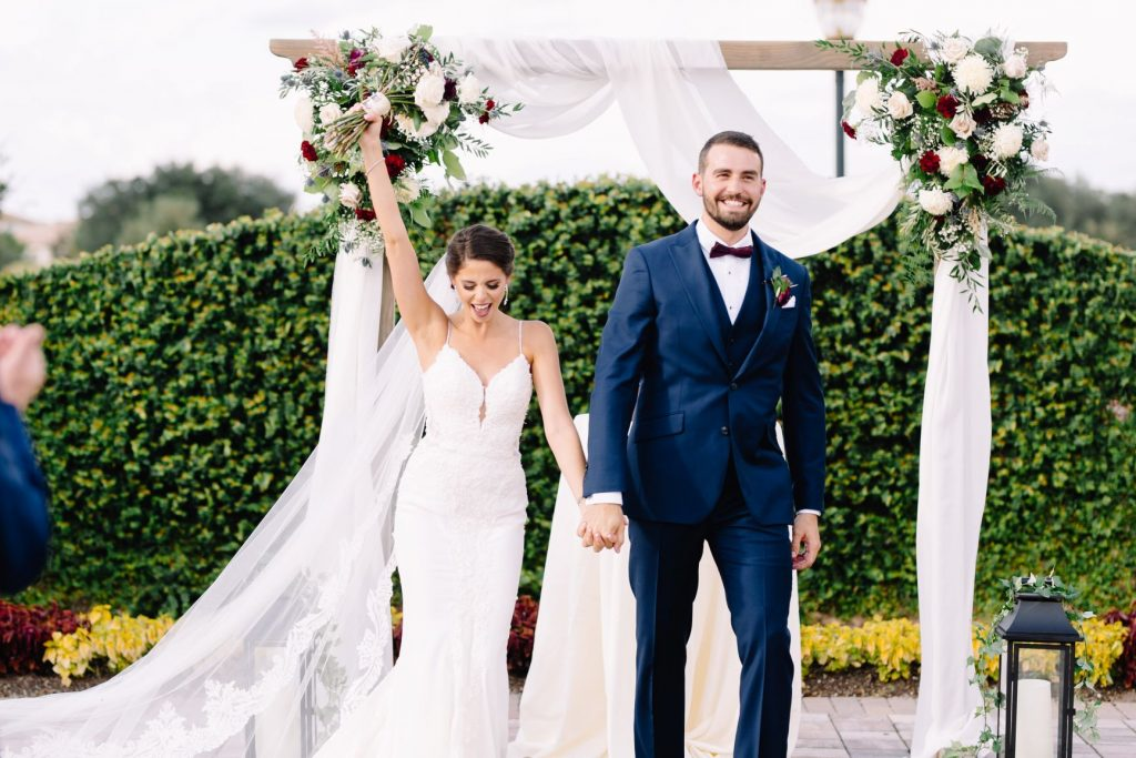 Burgundy and Blush Wedding - Just Marry Weddings - JP Pratt Photography - Bride and Groom Exiting the Ceremony