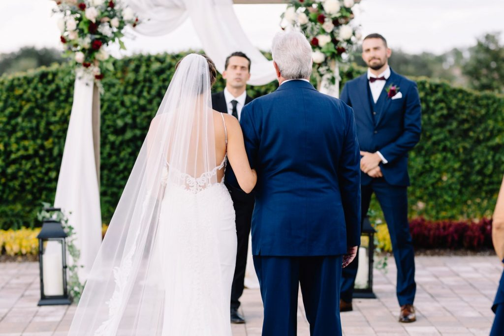 Burgundy and Blush Wedding - Just Marry Weddings - JP Pratt Photography - Bride and her Father Approaching the Altar