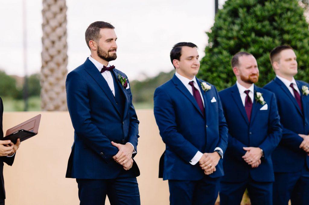 Burgundy and Blush Wedding - Just Marry Weddings - JP Pratt Photography - Groom Awaiting His Bride