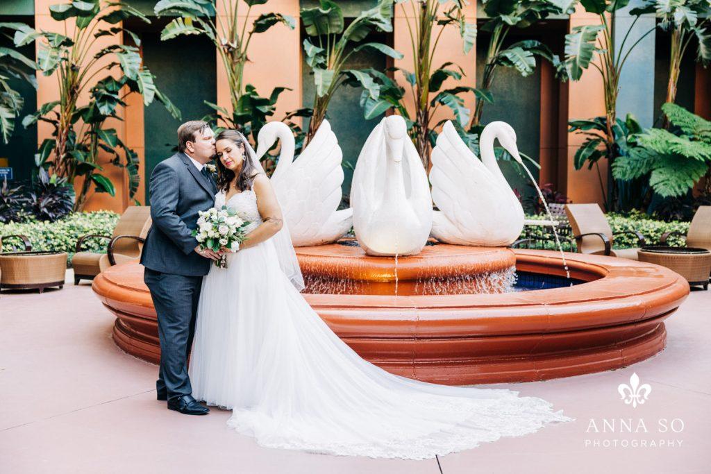 Disney Micro Wedding - Just Marry Weddings - Anna So Photography - Swan Fountain