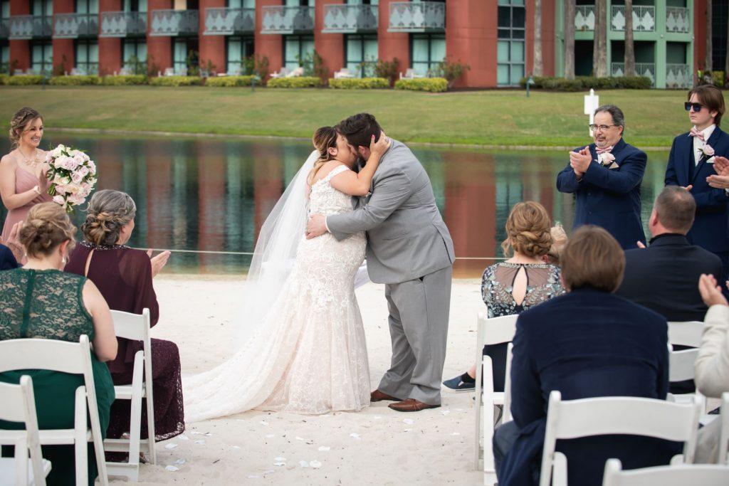 Florida Beach Wedding - Just Marry Weddings - Nova Imagery - First Kiss