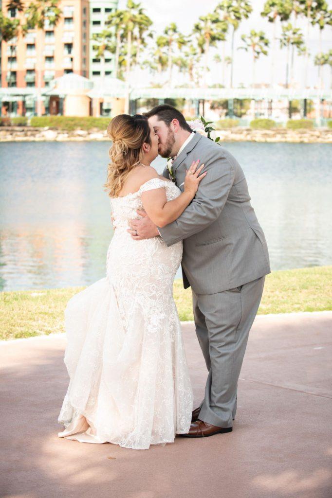 Florida Beach Wedding - Just Marry Weddings - Nova Imagery - Bride and Groom Kiss