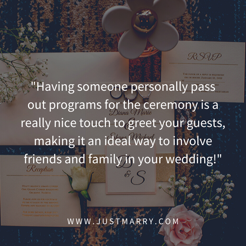 Jobs for Friends and Family at the Wedding - Just Marry Weddings - Quote