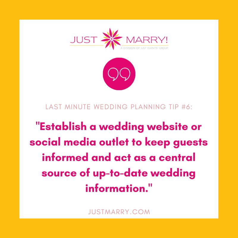 Last Minute Wedding Planning Tip - Just Marry Weddings