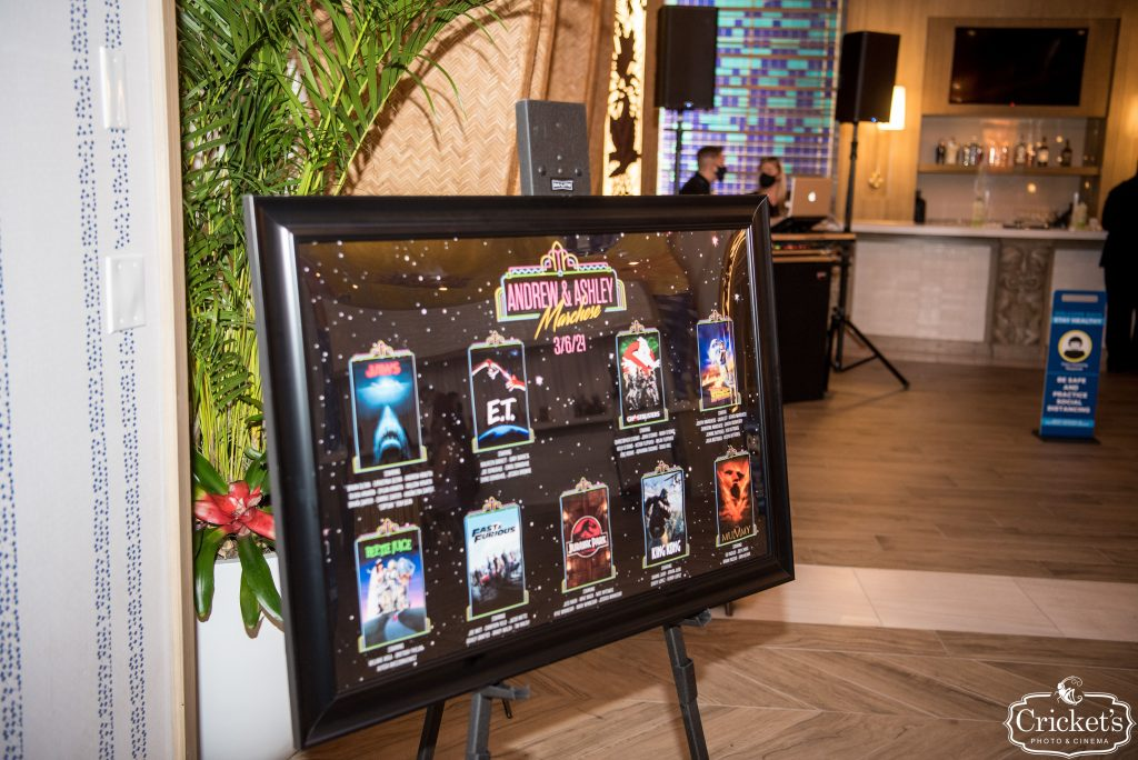 Movie Wedding Theme - Just Marry Weddings - Cricket's Photography - Royal Pacific Resort Wedding - Seating Chart