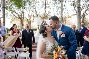 Tropical Wedding - Just Marry Weddings - PB&J Studios - Bride and Groom Kiss
